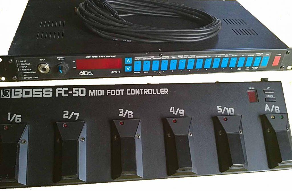 PREAMPLIFICATORE VALVOLARE MIDI ADA MB1 CONTROLLATO DALLA PEDALIERA MIDI BOSS FC-50